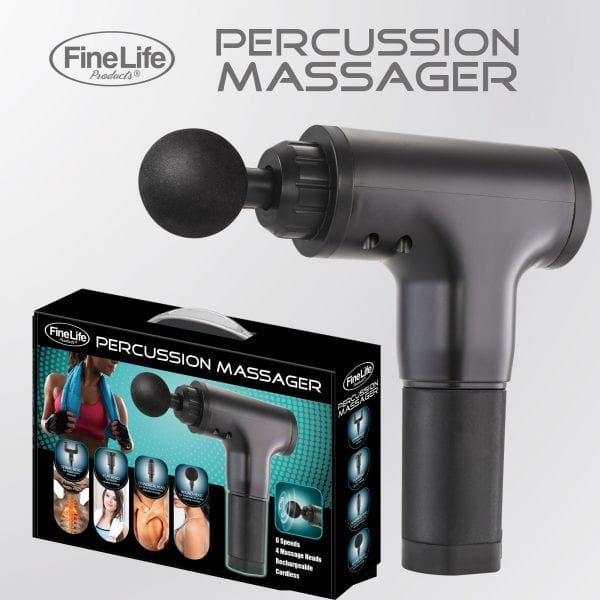 6 Speed Percussion Massager with 4 Optional Massage Heads – Black Best Sellers are percussion massage guns worth it 7