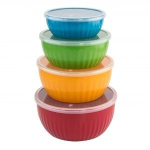 8 Piece Round Food Storage Container – Bright Colors BAKE & STORE
