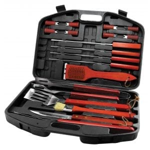 19 Piece BBQ Set In Carry Case CAMPING 19 Piece BBQ Set