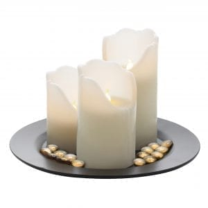 LED 3 Pillar Candle Set and Pebbles LED LIGHTS 3 flameless candles 3