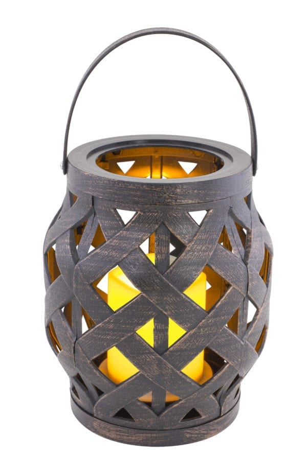 WOVEN LANTERN WITH CANDLE
