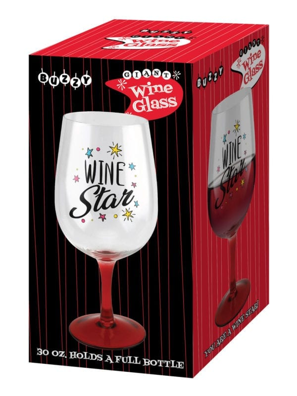 GIANT RED STEM WINE GLASS