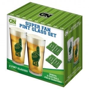Super Fan Pint Glass Set With Coasters Drinking Novelties fine life products glass set 3