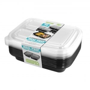 20 Piece Meal Prep Containers – Black 3 Sections BAKE & STORE
