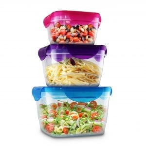 6 Piece Square Food Storage With Locking Lid – Assort... BAKE & STORE