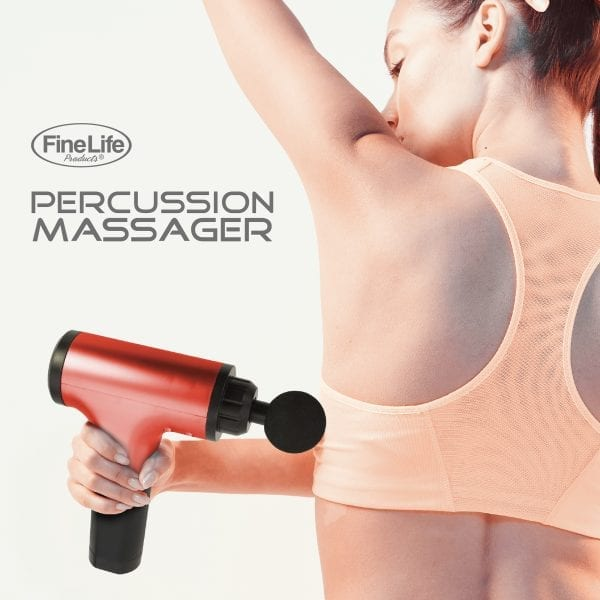6 Speed Percussion Massager with 4 Optional Massage Heads – Red ELECTRONICS 4
