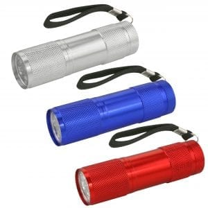 3 Piece LED Flashlight Set – Silver/Red/Blue CAMPING 3 piece led flashlight set