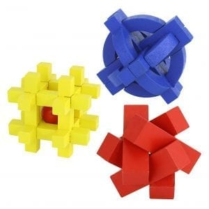 Wooden Puzzle – Assorted 3 Colors & Shapes Board Games