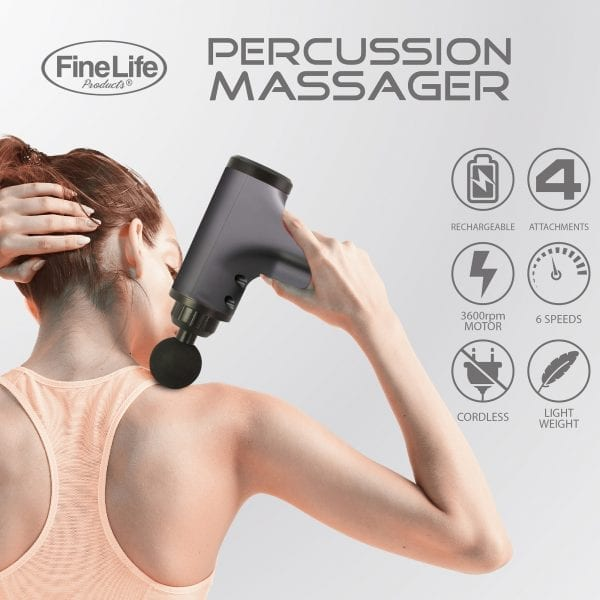 6 Speed Percussion Massager with 4 Optional Massage Heads – Black Best Sellers are percussion massage guns worth it 5
